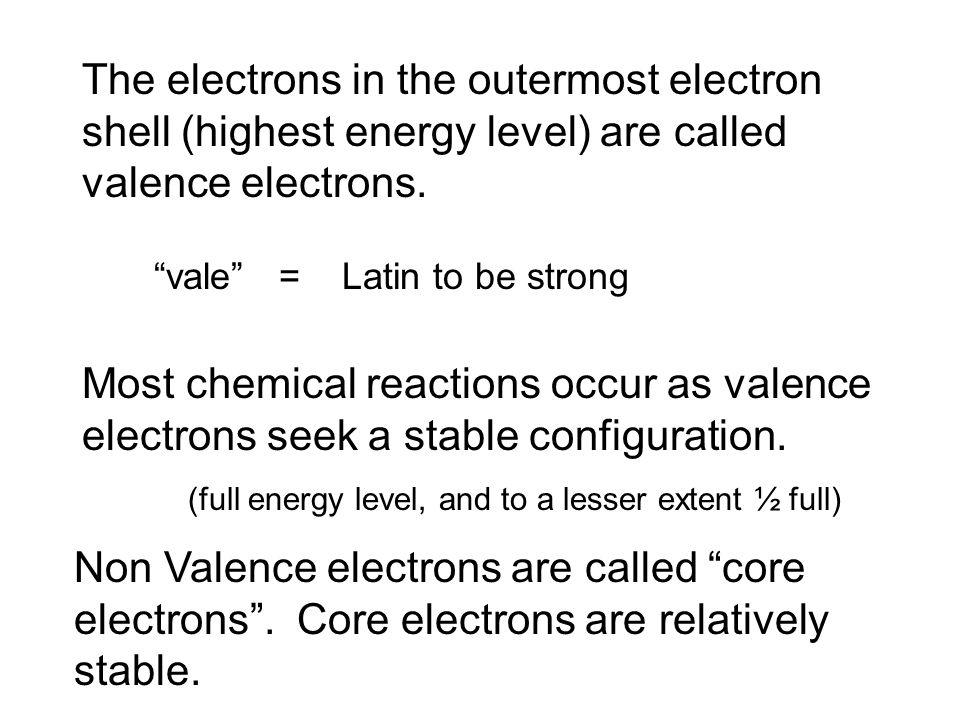 The electrons in the outermost electron shell (highest energy level) are called valence electrons.