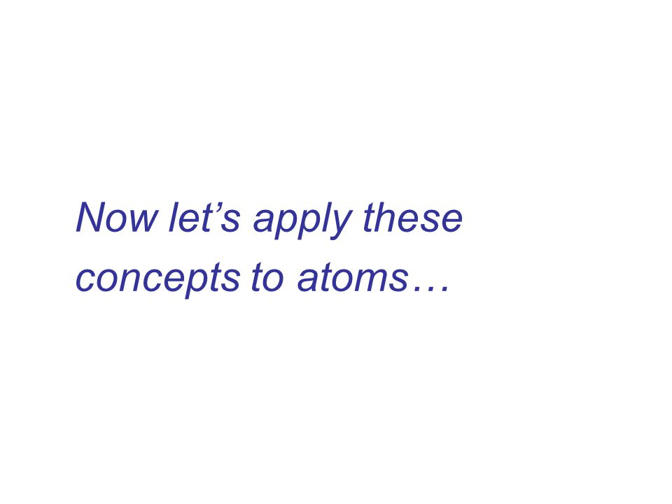 Now let's apply these concepts to atoms…