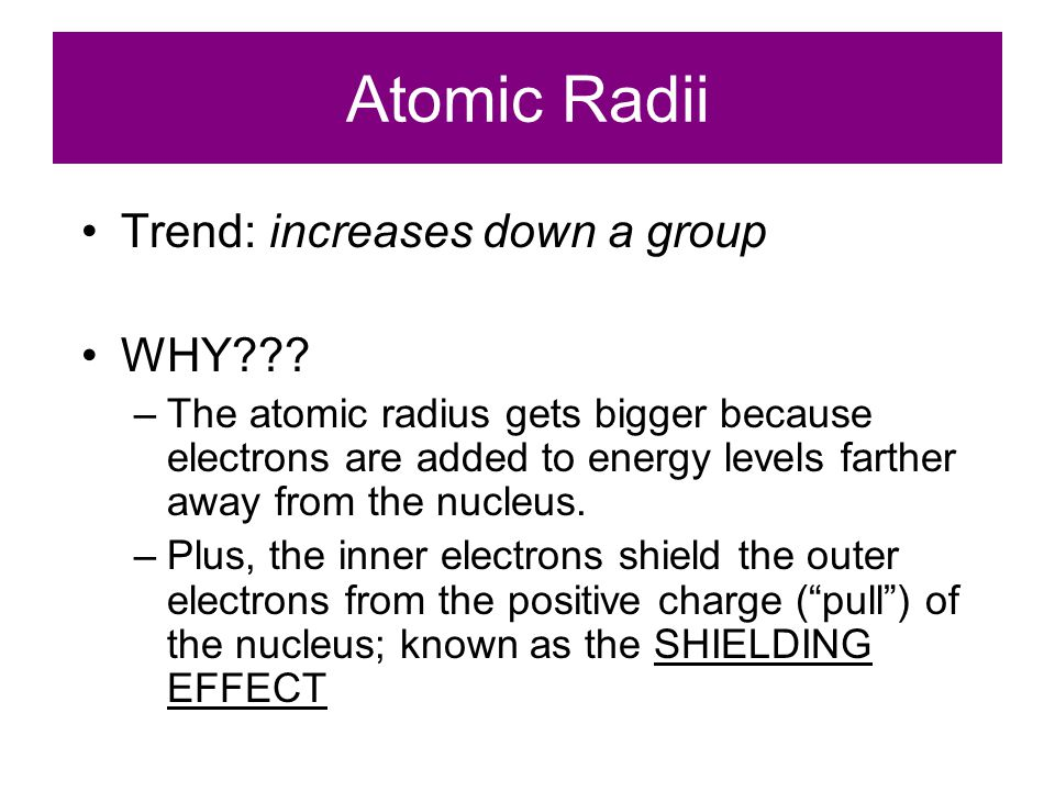 Atomic Radii Trend: increases down a group WHY