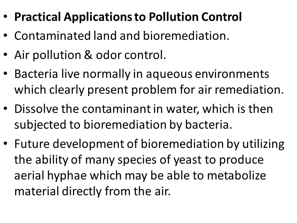 Practical Applications to Pollution Control