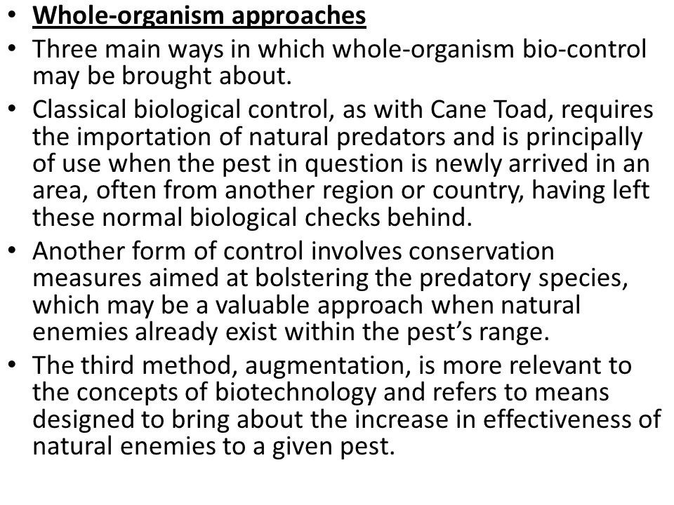 Whole-organism approaches