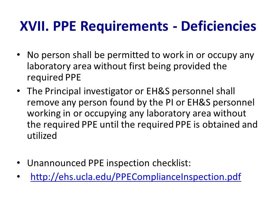 XVII. PPE Requirements - Deficiencies