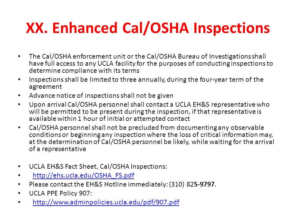 XX. Enhanced Cal/OSHA Inspections