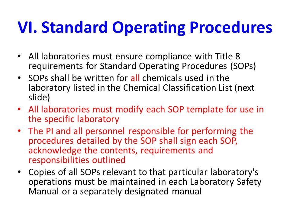 VI. Standard Operating Procedures