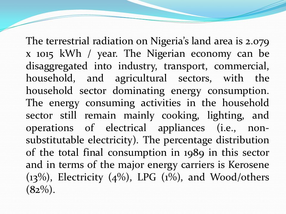 The terrestrial radiation on Nigeria's land area is 2