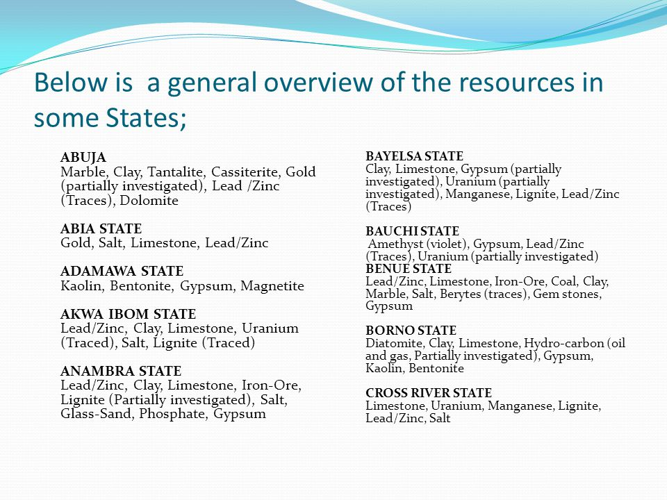 Below is a general overview of the resources in some States;