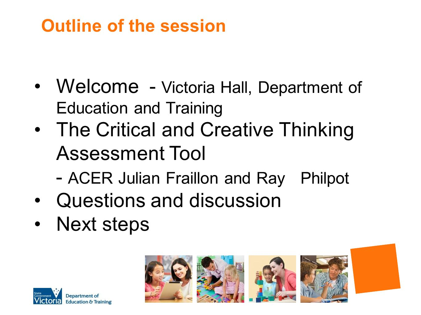 Welcome - Victoria Hall, Department of Education and Training