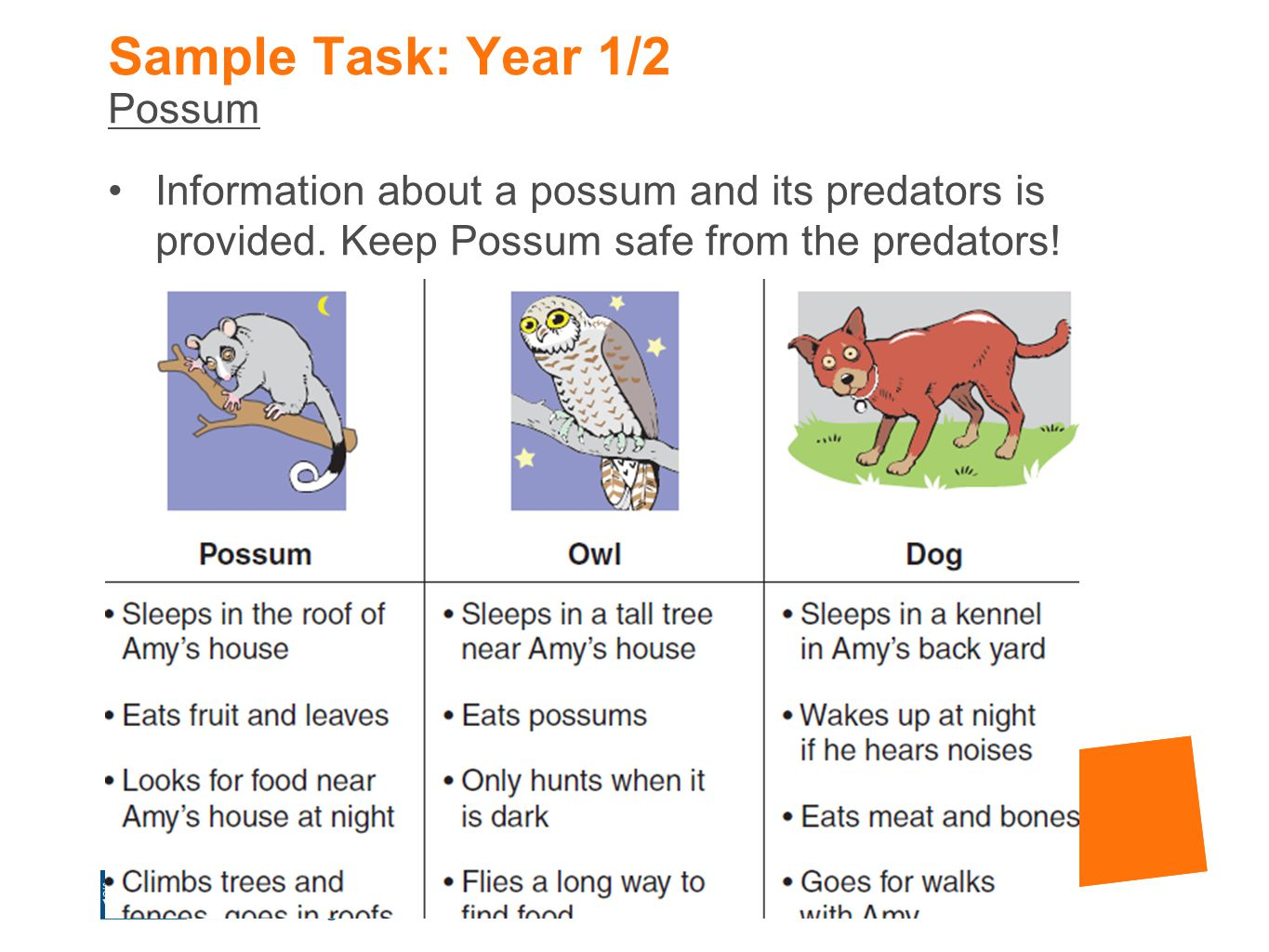 Sample Task: Year 1/2 Possum
