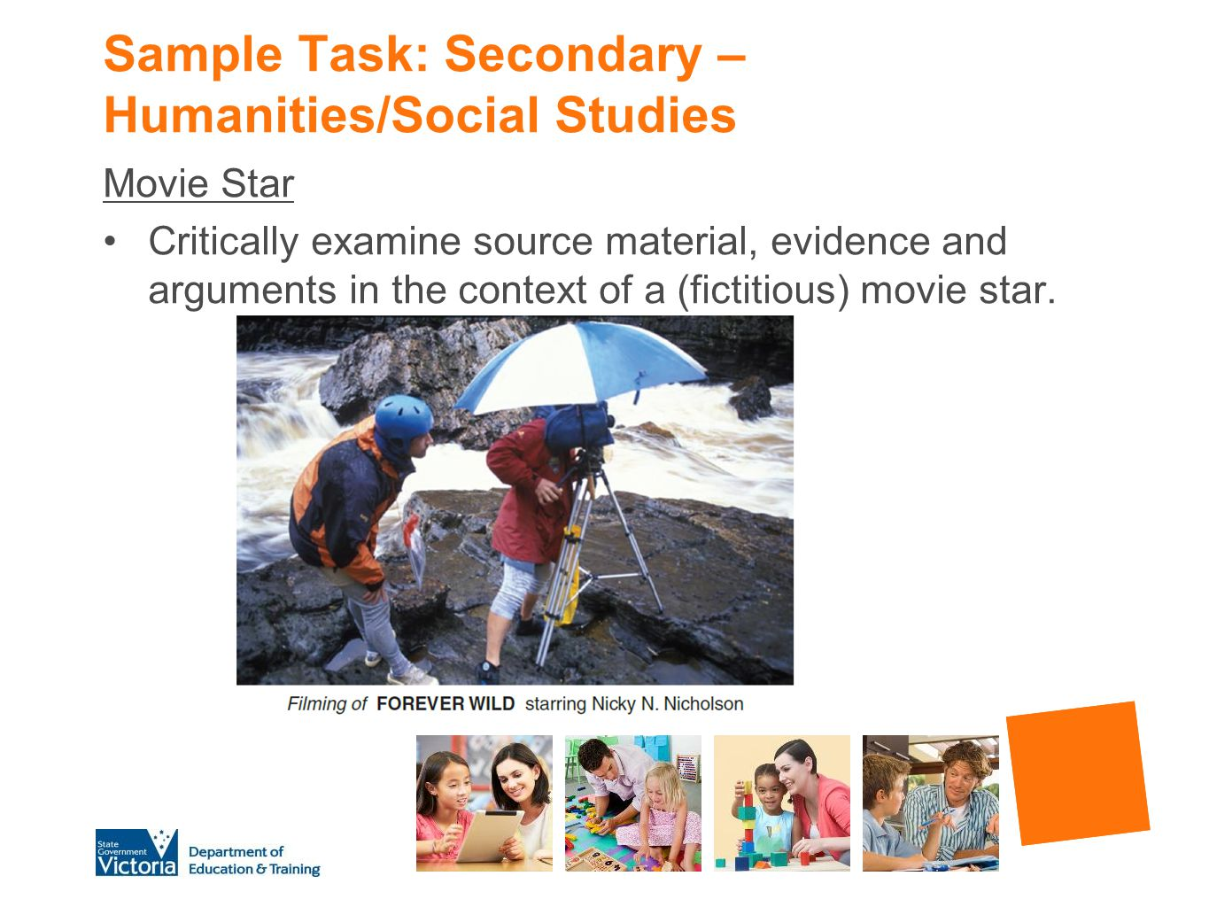 Sample Task: Secondary – Humanities/Social Studies
