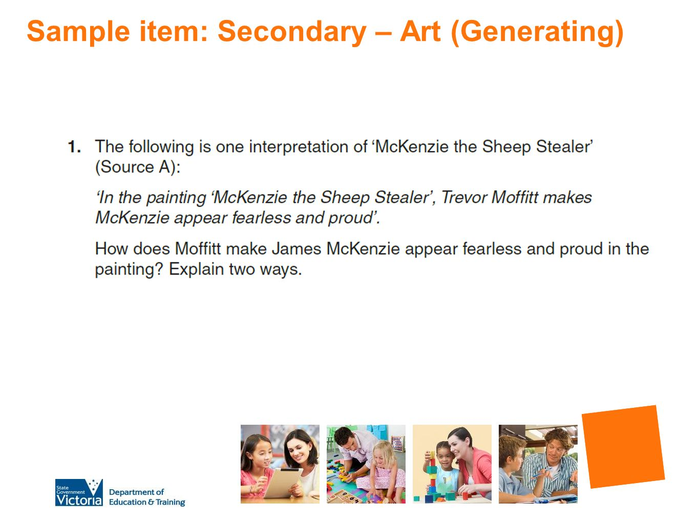 Sample item: Secondary – Art (Generating)