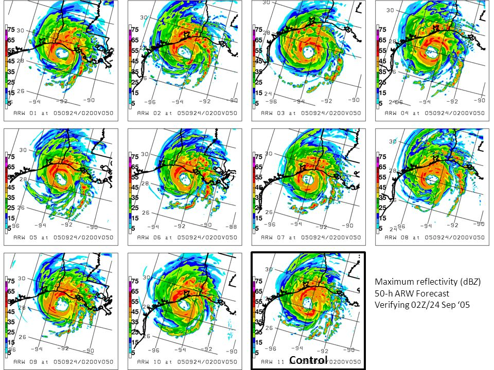 Control Maximum reflectivity (dBZ) 50-h ARW Forecast