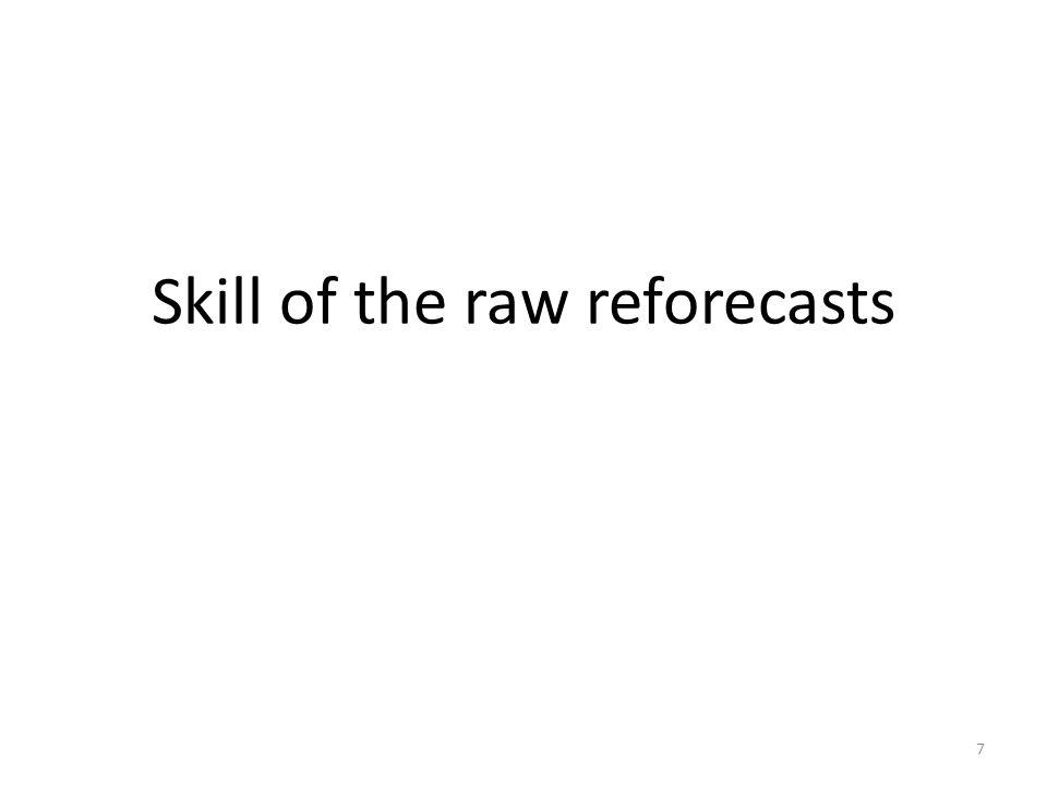 Skill of the raw reforecasts