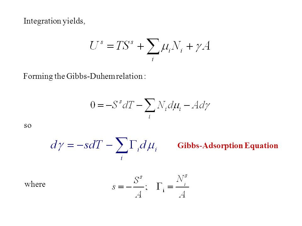 Integration yields, Forming the Gibbs-Duhem relation : so Gibbs-Adsorption Equation where