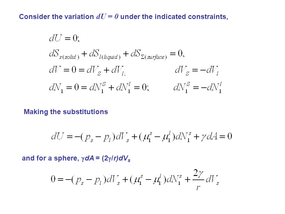 Consider the variation dU = 0 under the indicated constraints,