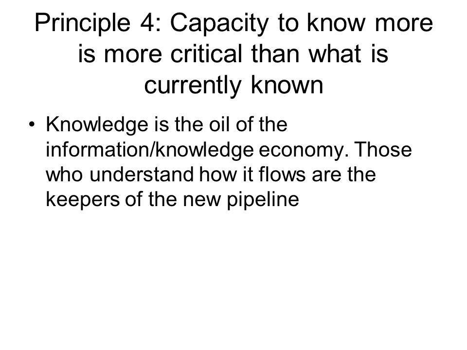 Principle 4: Capacity to know more is more critical than what is currently known