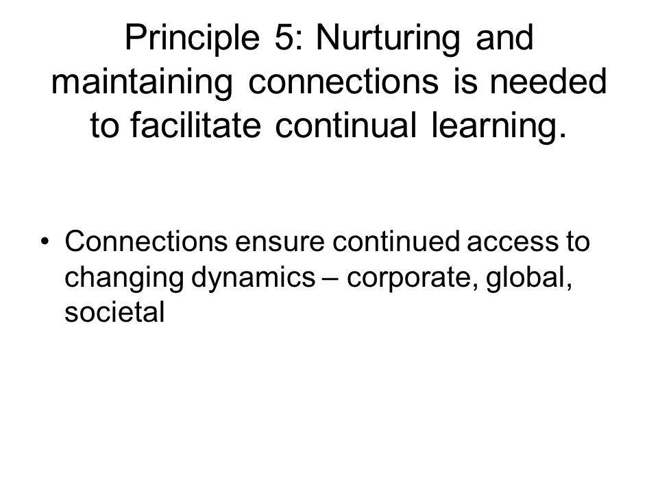 Principle 5: Nurturing and maintaining connections is needed to facilitate continual learning.
