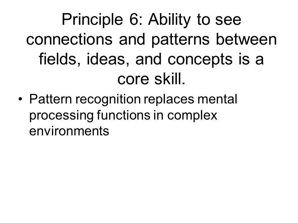 Principle 6: Ability to see connections and patterns between fields, ideas, and concepts is a core skill.