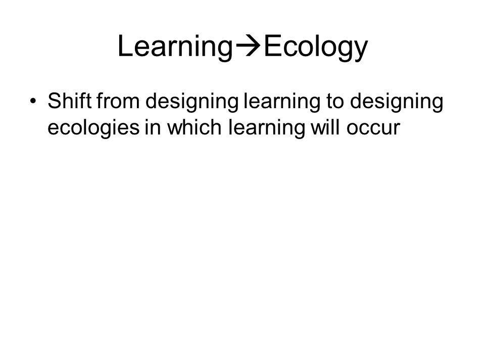 LearningEcology Shift from designing learning to designing ecologies in which learning will occur