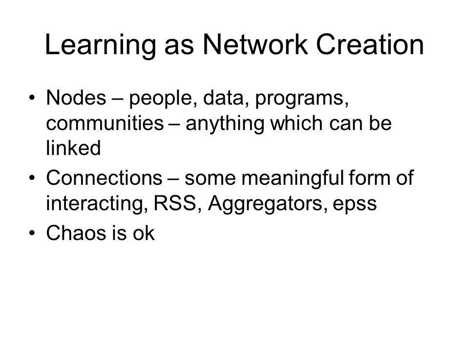 Learning as Network Creation