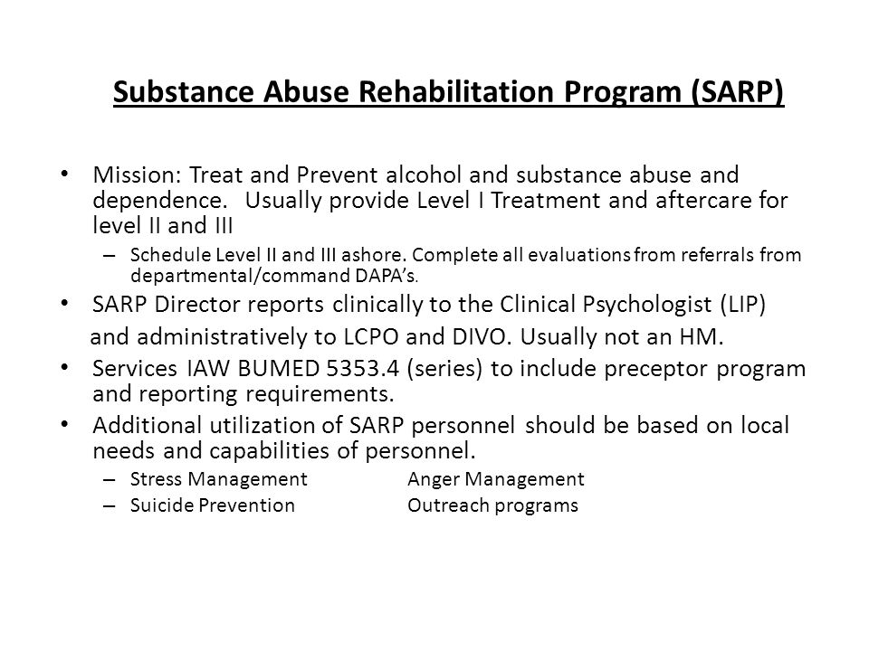 Substance Abuse Rehabilitation Program (SARP)