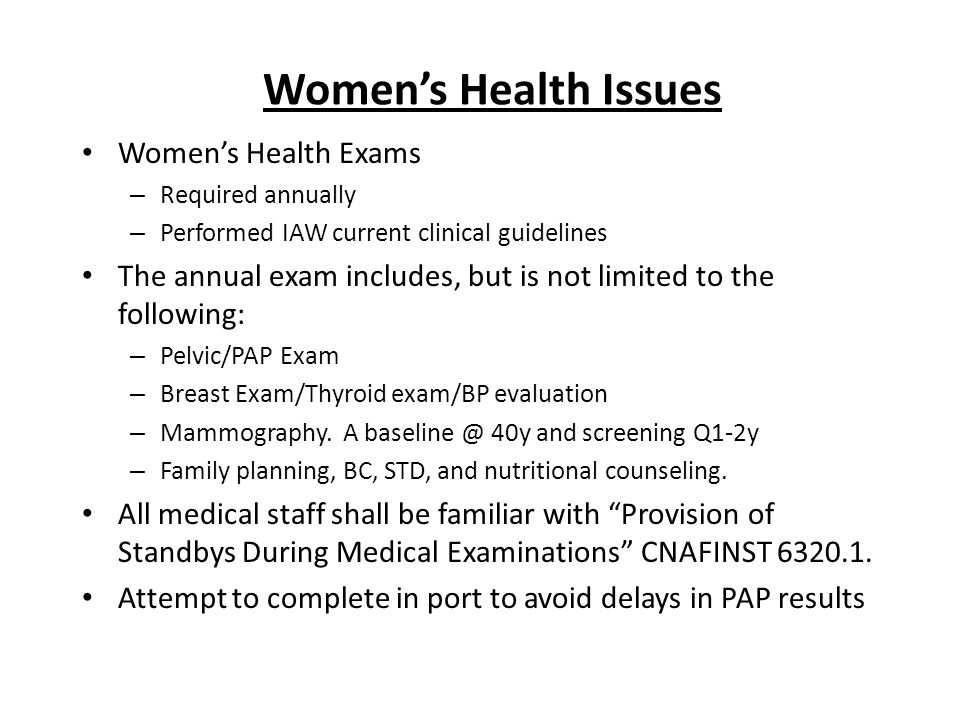 Women's Health Issues Women's Health Exams