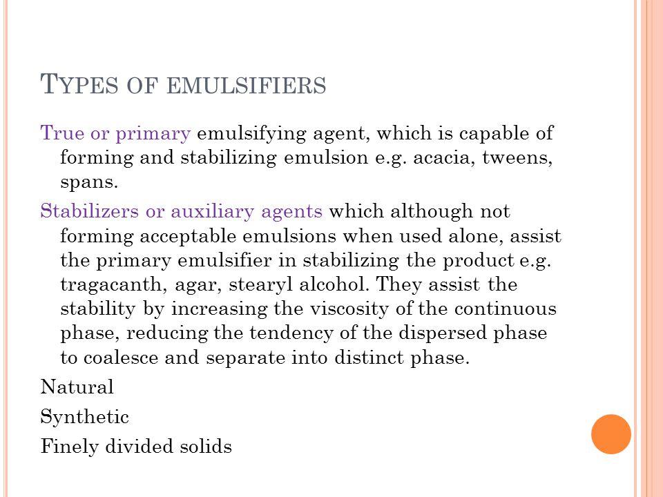 Types of emulsifiers