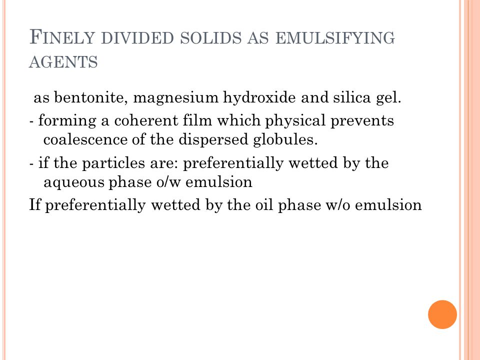 Finely divided solids as emulsifying agents