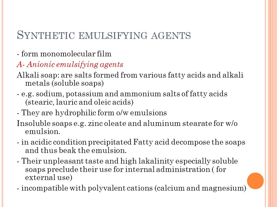 Synthetic emulsifying agents
