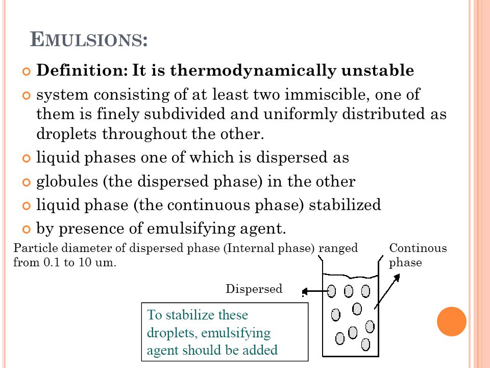 Emulsions: Definition: It is thermodynamically unstable