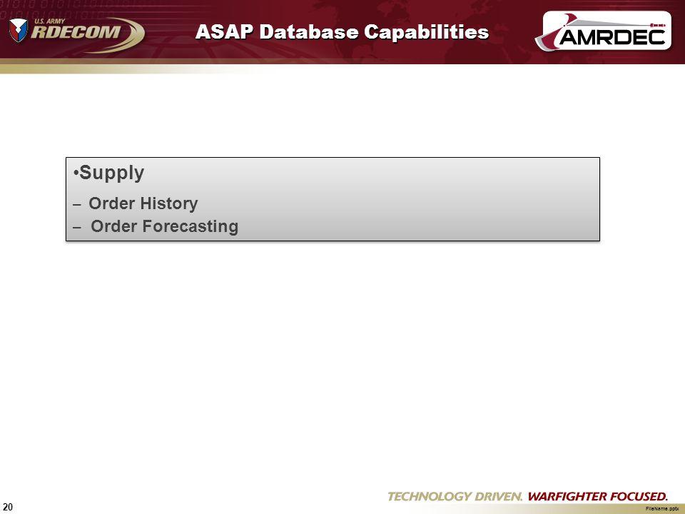 ASAP Database Capabilities