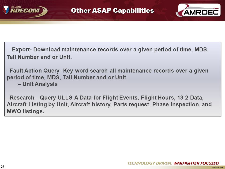 Other ASAP Capabilities