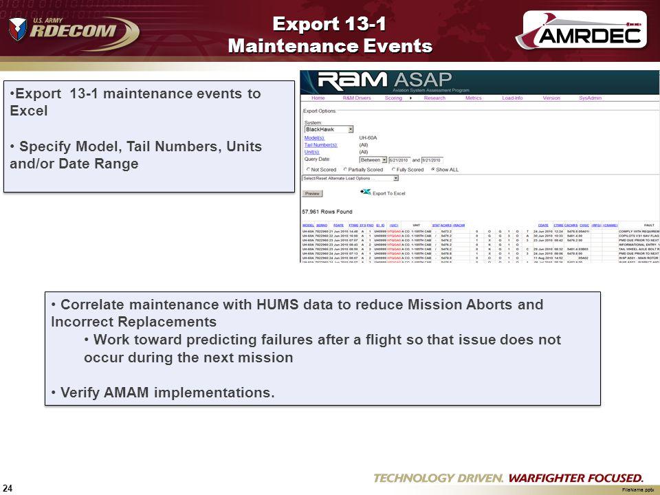 Export 13-1 Maintenance Events