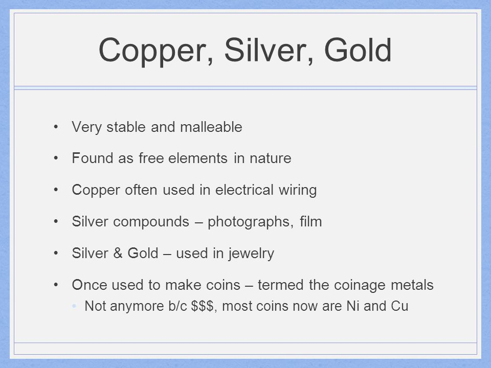 Zinc, Cadmium, Mercury Zn, Cd often used to coat other metals