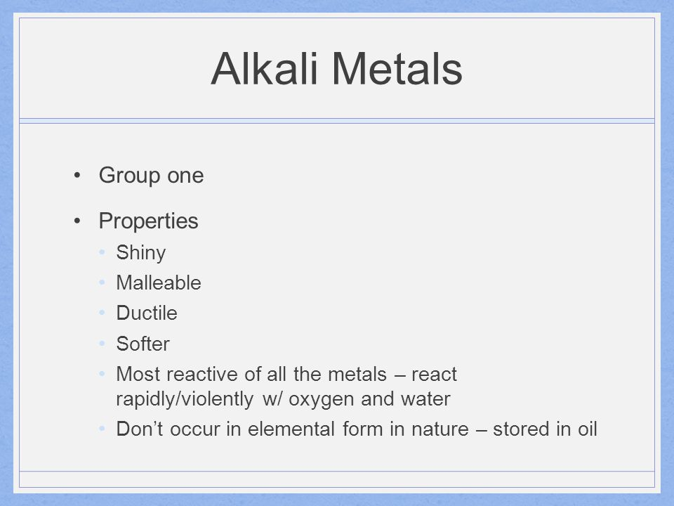 Alkali Metals One electron in its outer energy level