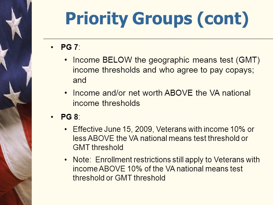 Priority Groups (cont)