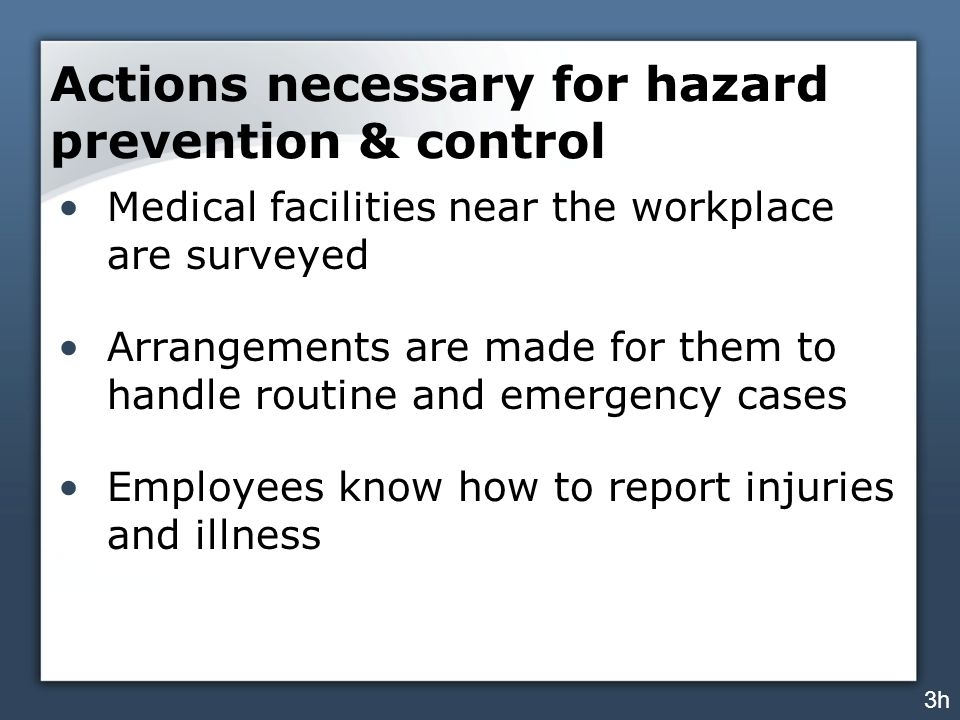 Actions necessary for hazard prevention & control