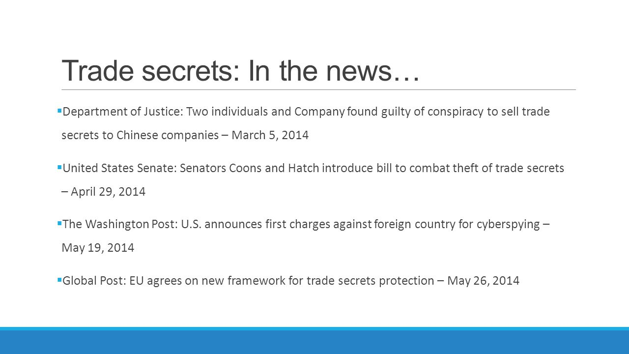 Trade secrets: In the news…