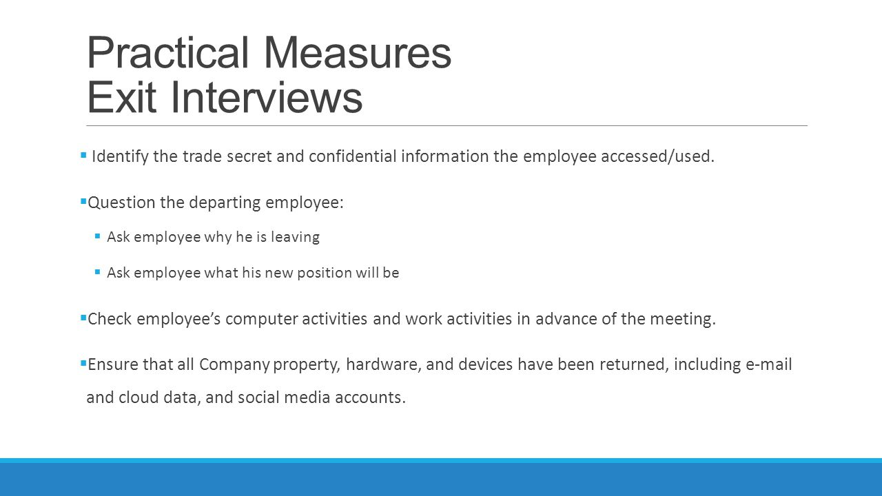 Practical Measures Exit Interviews