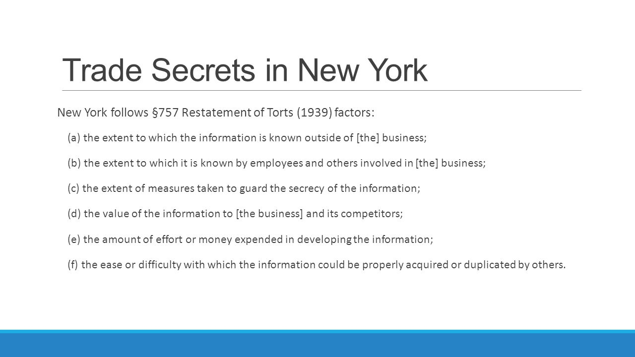 Trade Secrets in New York