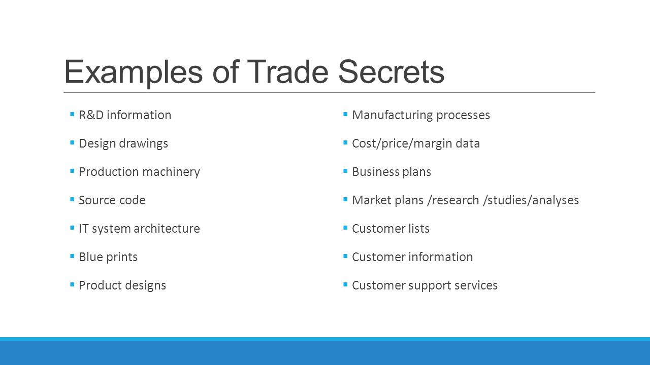 Examples of Trade Secrets