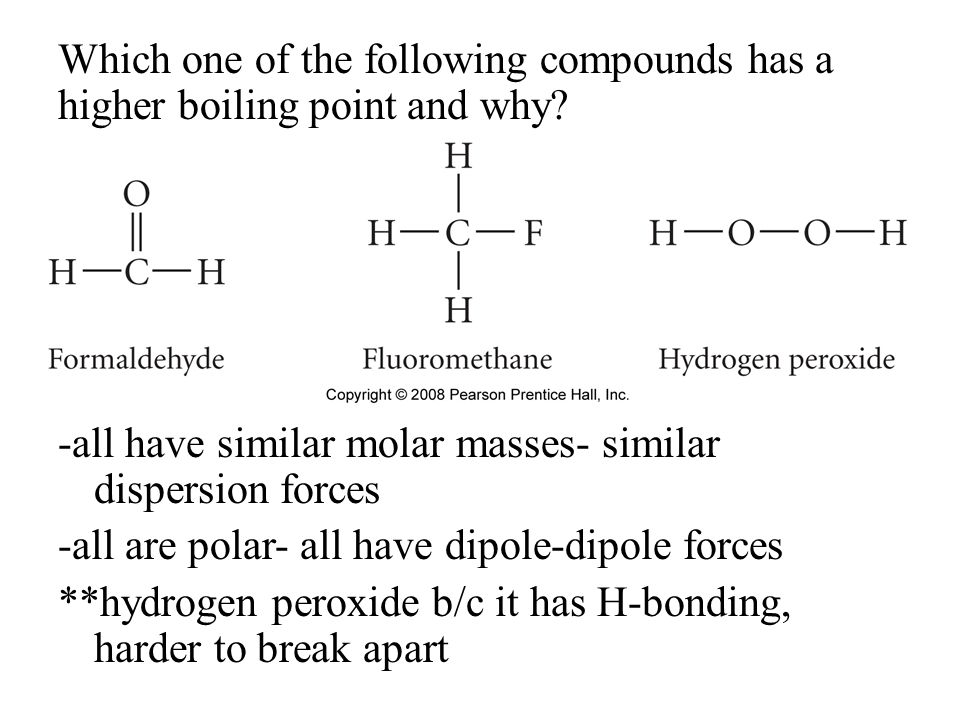 Which one of the following compounds has a higher boiling point and why.