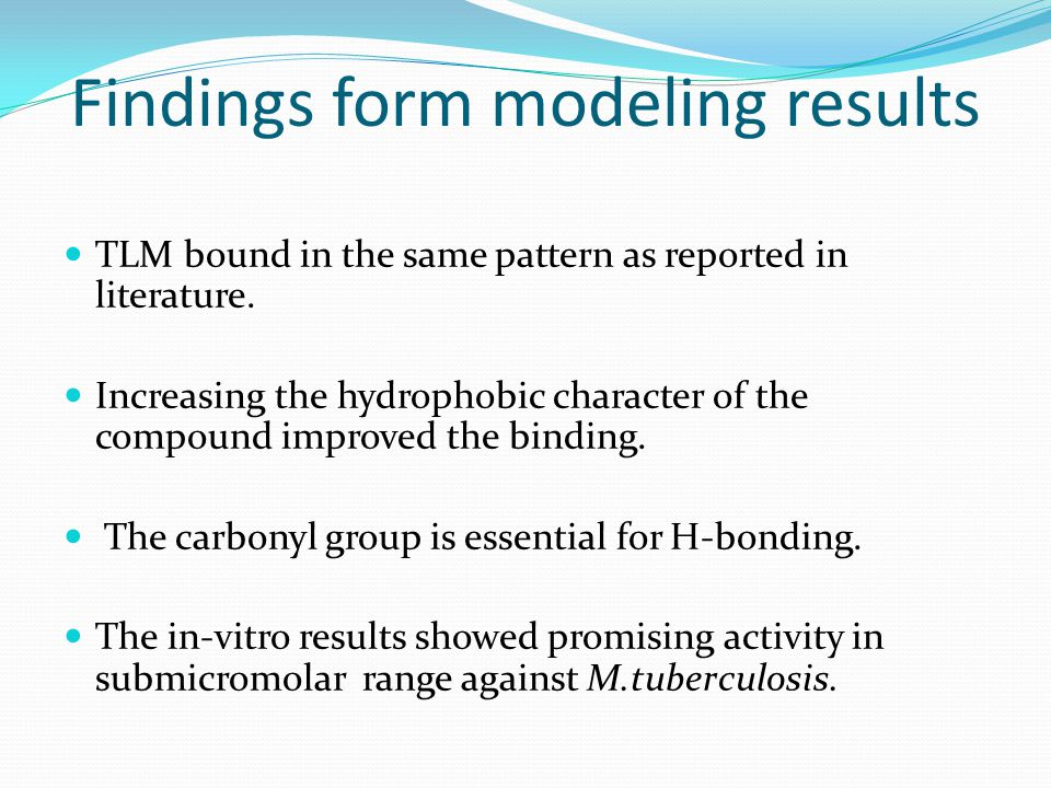 Findings form modeling results