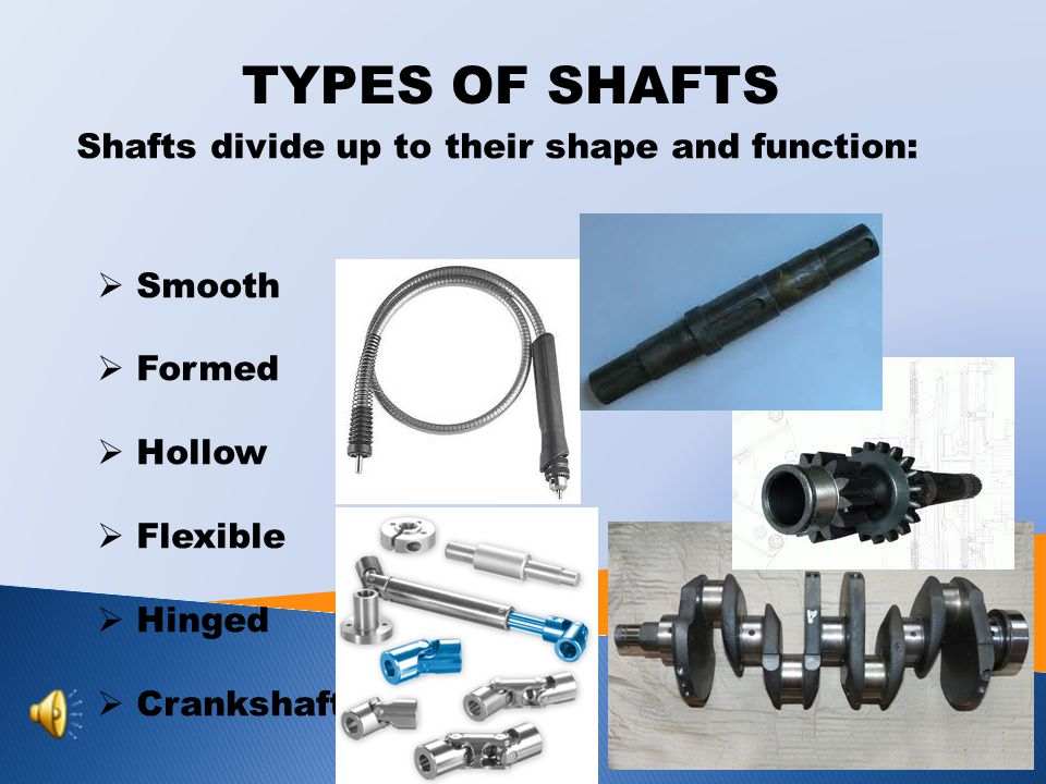 TYPES OF SHAFTS Shafts divide up to their shape and function: Smooth