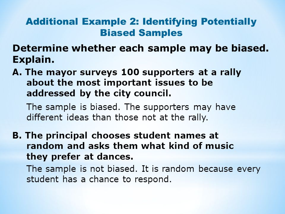 Additional Example 2: Identifying Potentially Biased Samples