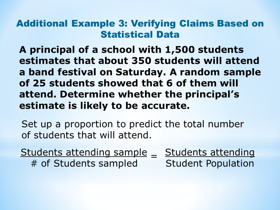 Additional Example 3: Verifying Claims Based on Statistical Data
