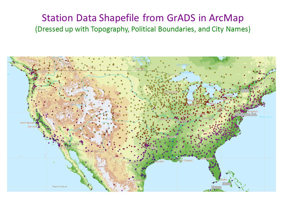 Station Data Shapefile from GrADS in ArcMap (Dressed up with Topography, Political Boundaries, and City Names)