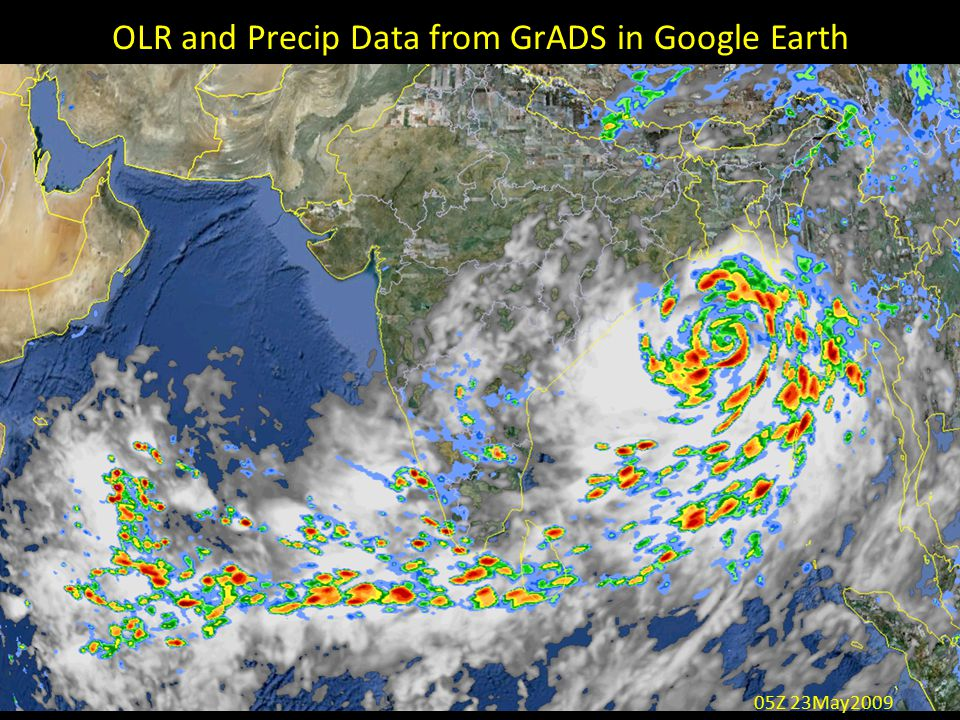 OLR and Precip Data from GrADS in Google Earth