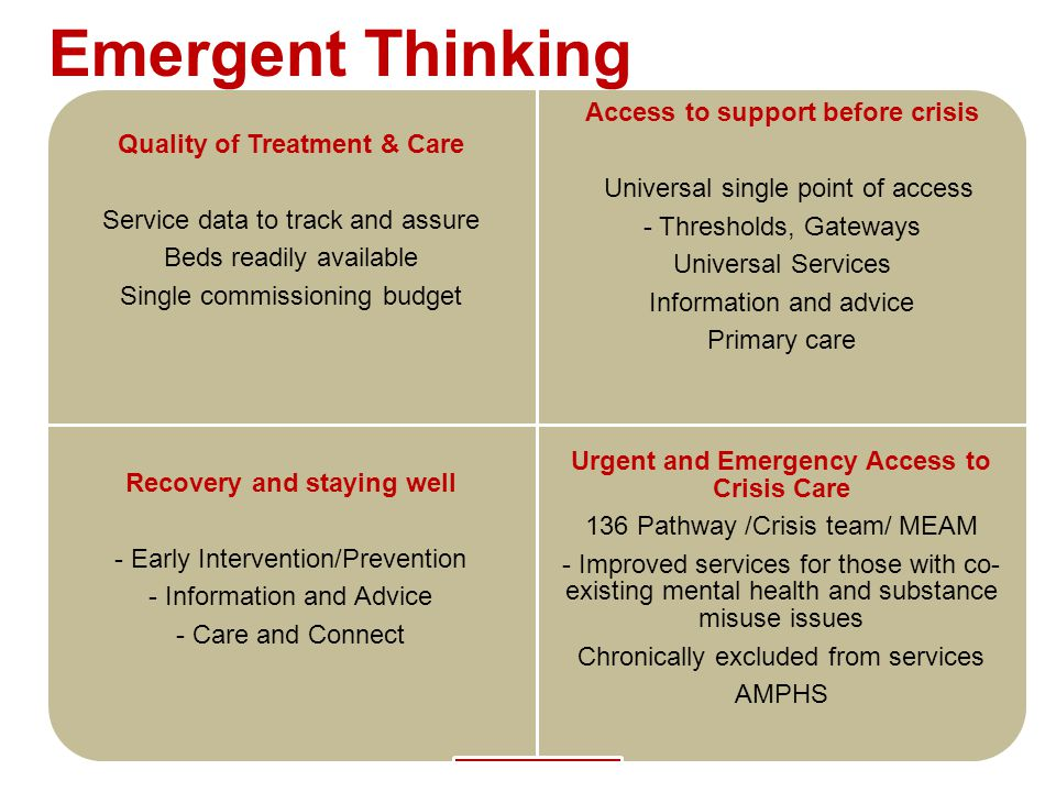 Emergent Thinking Urgent and Emergency Access to Crisis Care