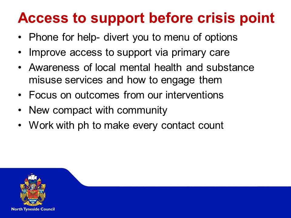 Access to support before crisis point