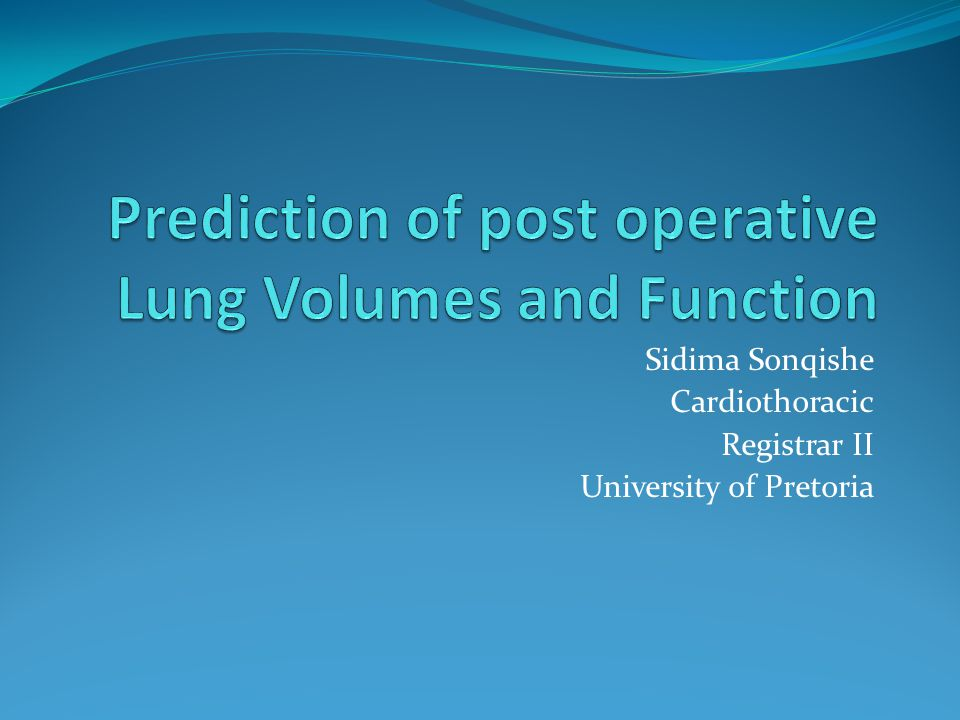 Prediction of post operative Lung Volumes and Function